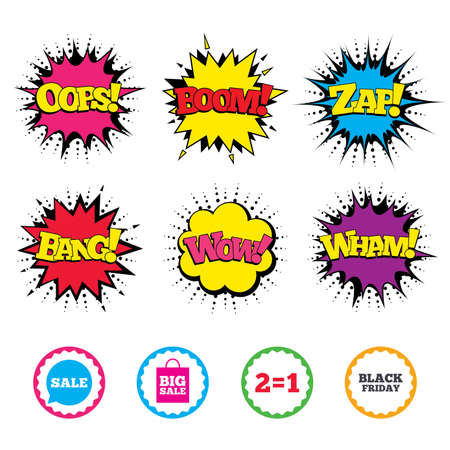 Comic Wow, Oops, Boom and Wham sound effects. Sale speech bubble icons. Two equals one. Black friday sign. Big sale shopping bag symbol. Zap speech bubbles in pop art.