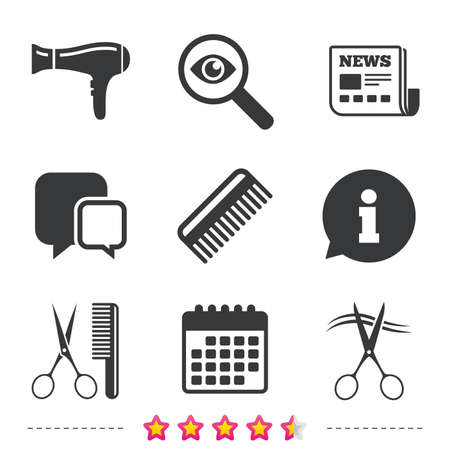 cut hair: Hairdresser icons. Scissors cut hair symbol. Comb hair with hairdryer sign. Newspaper, information and calendar icons. Investigate magnifier, chat symbol.