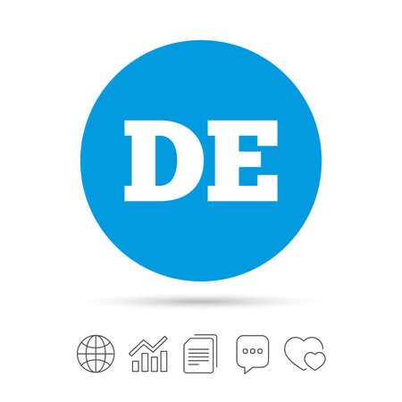 deutschland: German language sign icon. DE Deutschland translation symbol. Copy files, chat speech bubble and chart web icons.