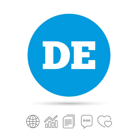 German language sign icon. DE Deutschland translation symbol. Copy files, chat speech bubble and chart web icons.