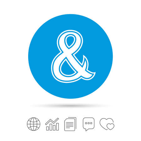 amp: Ampersand sign icon. Programming logical operator AND. Wedding invitation symbol. Copy files, chat speech bubble and chart web icons.