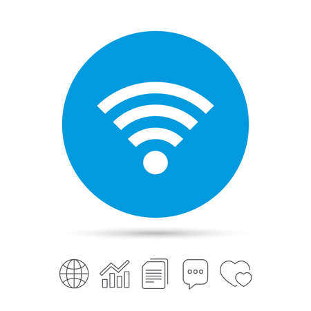 wi: Wifi sign. Wi-fi symbol. Wireless Network icon. Wifi zone. Copy files, chat speech bubble and chart web icons. Vector Illustration