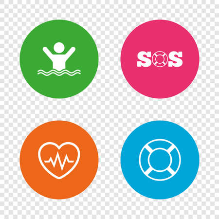 SOS lifebuoy icon. Heartbeat cardiogram symbol. Swimming sign. Man drowns. Round buttons on transparent background.