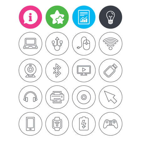 Information, light bulb and report signs. Computer elements icons. Notebook, usb port and smartphone. Printer, smart watch and game console joystick. Bluetooth, flash stick and cursor pointer. Vector