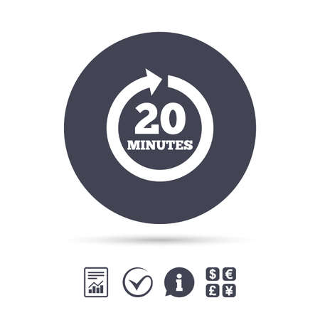 renewal: Every 20 minutes sign icon. Full rotation arrow symbol. Report document, information and check tick icons. Currency exchange.
