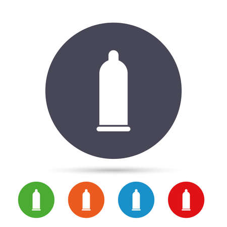 Condom safe sign icon. Safe love symbol. Round colourful buttons with flat icons.