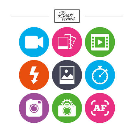 Photo, video icons. Camera, photos and frame signs. Flash, timer and landscape symbols. Classic simple flat icons.