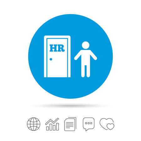 Human resources sign icon. HR symbol. Workforce of business organization. Man at the door. Copy files, chat speech bubble and chart web icons.