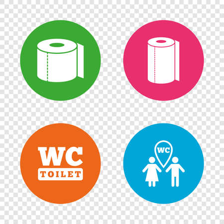 gents: Toilet paper icons. Gents and ladies room signs. Paper towel or kitchen roll. Man and woman symbols. Round buttons on transparent background.