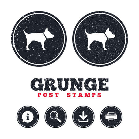 dog allowed: Grunge post stamps. Dog sign icon. Pets symbol. Information, download and printer signs. Aged texture web buttons.