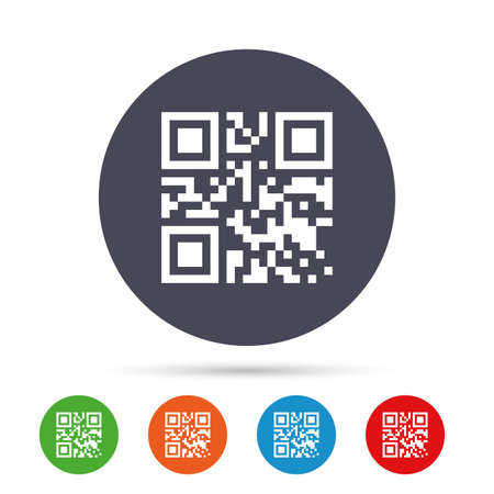 Qr code sign icon. Scan code symbol. Coded word - success! Round colourful buttons with flat icons. Illustration