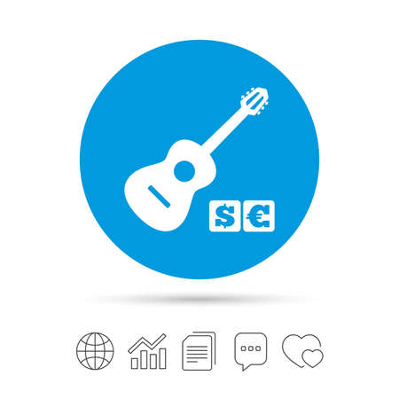 Acoustic guitar sign icon. Paid music symbol. Copy files, chat speech bubble and chart web icons.