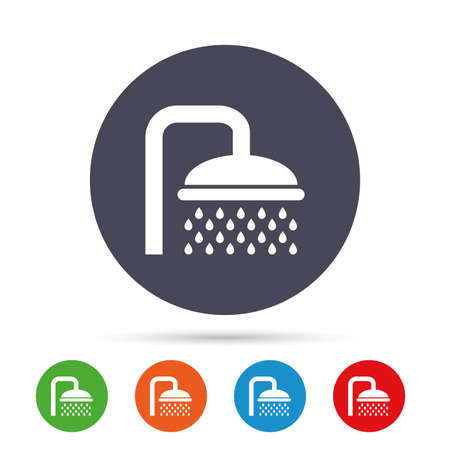 Shower sign icon. Douche with water drops symbol. Round colourful buttons with flat icons.