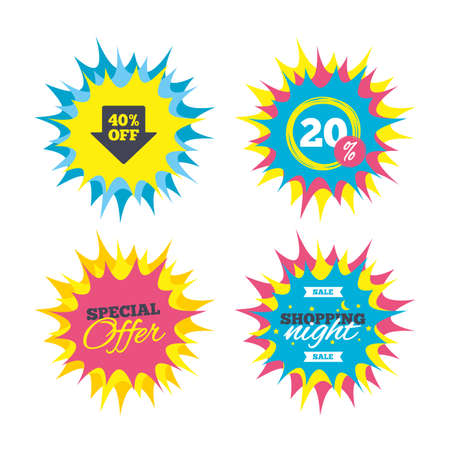 Shopping offers, special offer banners. 40% sale arrow tag sign icon. Discount symbol. Special offer label. Discount star label.
