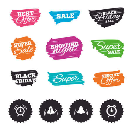wake up call: Ink brush sale banners and stripes. Alarm clock icons. Wake up bell signs symbols. Exclamation mark. Special offer. Ink stroke.