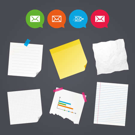 webmail: Business paper banners with notes. Mail envelope icons. Message delivery symbol. Post office letter signs. Sticky colorful tape. Speech bubbles with icons.