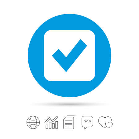 Check mark sign icon. Checkbox button. Copy files, chat speech bubble and chart web icons.
