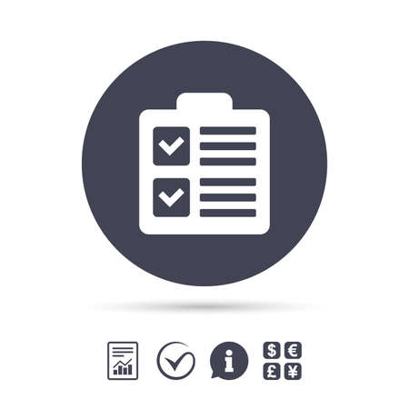 report form: Checklist sign icon. Control list symbol. Survey poll or questionnaire form. Report document, information and check tick icons. Currency exchange. Illustration