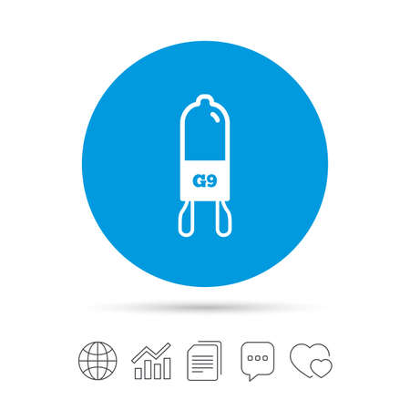 Light bulb icon. Lamp G9 socket symbol. Led or halogen light sign. Copy files, chat speech bubble and chart web icons.