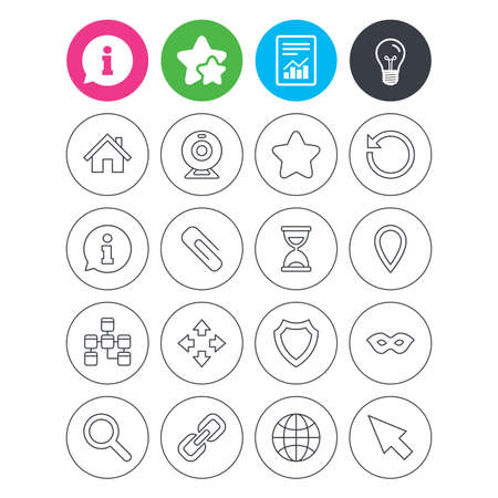 Information, light bulb and report signs. Web elements icons. Paperclip, video camera and information speech bubble. Database, anonymous mask and secure shield. Favorite star symbol. Flat buttons