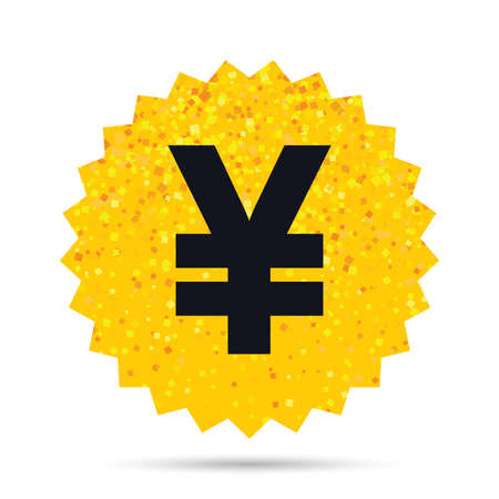 Gold glitter web button. Yen sign icon. JPY currency symbol. Money label. Rich glamour star design.