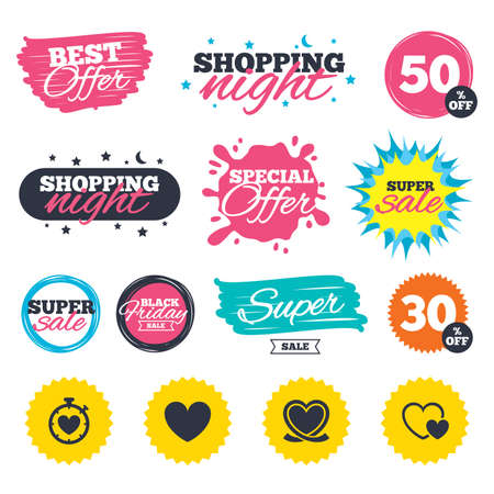 palpitation: Sale shopping banners. Special offer splash. Heart ribbon icon. Timer stopwatch symbol. Love and Heartbeat palpitation signs. Web badges and stickers. Best offer.
