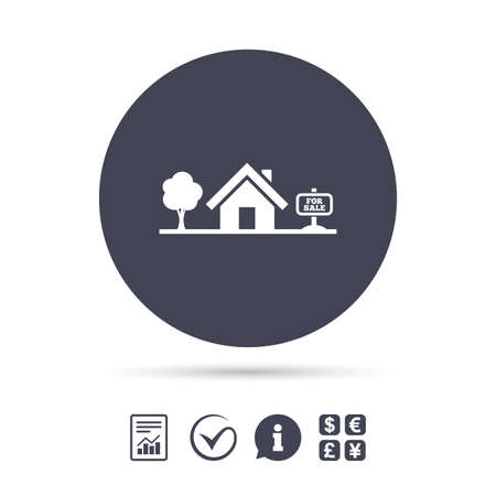 house exchange: Home sign icon. House for sale. Broker symbol. Report document, information and check tick icons. Currency exchange.