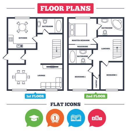 Architecture plan with furniture. House floor plan. Graduation icons. Graduation student cap sign. Education book symbol. First place award. Winners podium. Kitchen, lounge and bathroom. Ilustração