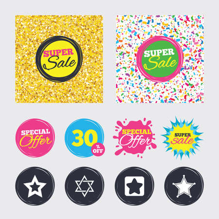 Gold glitter and confetti backgrounds. Covers, posters and flyers design. Star of David icons. Sheriff police sign. Symbol of Israel. Sale banners. Special offer splash. Illustration