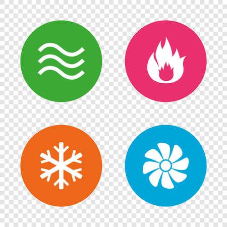 HVAC-pictogrammen. Symbolen voor verwarmen, ventileren en airconditioning. Water voorraad. Klimaattechnologie tekenen. Ronde knoppen op transparante achtergrond. Stock Illustratie