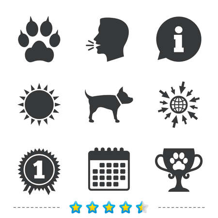 Pets icons. paw with clutches sign. Winner cup and medal symbol. Dog silhouette. Information, go to web and calendar icons. Sun and loud speak symbol.