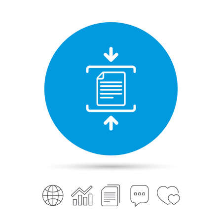 zipped: Archive file sign icon. Compressed zipped file symbol. Arrows. Copy files, chat speech bubble and chart web icons.