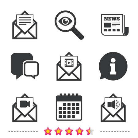voice mail: Mail envelope icons. Message document symbols. Video and Audio voice message signs. Newspaper, information and calendar icons. Investigate magnifier, chat symbol. Vector