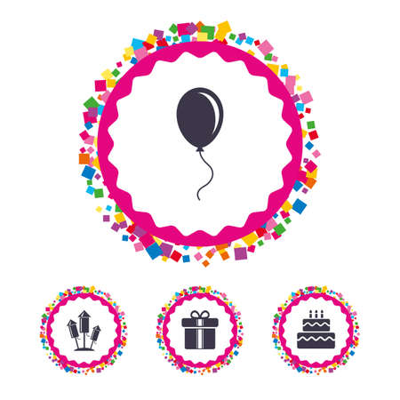 Web buttons with confetti pieces. Birthday party icons. Cake and gift box signs. Air balloons and fireworks rockets symbol. Bright stylish design. Illustration