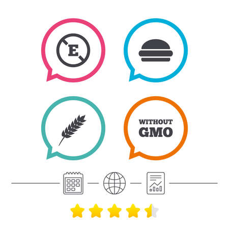 stabilizers: Food additive icon. Hamburger fast food sign. Gluten free and No GMO symbols. Without E acid stabilizers. Calendar, internet globe and report linear icons. Star vote ranking.