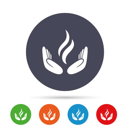 Energy hands sign icon. Power from hands symbol. Round colourful buttons with flat icons. Illustration
