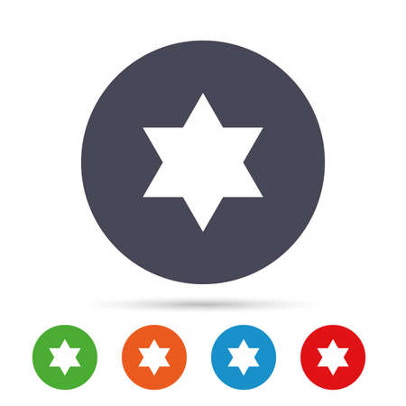 Star of David sign icon. Symbol of Israel. Jewish hexagram symbol. Shield of David. Round colourful buttons with flat icons.