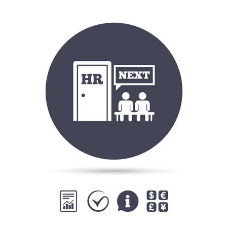 Human resources sign icon. Queue at the HR door symbol. Workforce of business organization. Report document, information and check tick icons. Currency exchange.