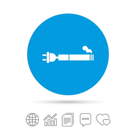 vaporizer: Smoking sign icon. E-Cigarette symbol. Electronic cigarette. Copy files, chat speech bubble and chart web icons. Illustration