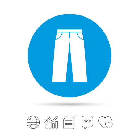 Mens jeans or pants sign icon. Casual clothing symbol. Copy files, chat speech bubble and chart web icons.
