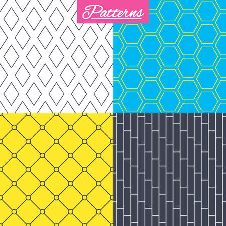 Rhombus, hexagon and grid with circles textures. Linear geometric patterns. Modern textures. Abstract patterns with colored background.