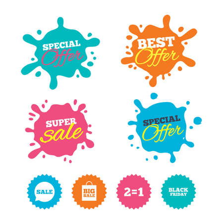 Best offer and sale splash banners. Sale speech bubble icons. Two equals one. Black friday sign. Big sale shopping bag symbol. Web shopping labels. Vector Illustration