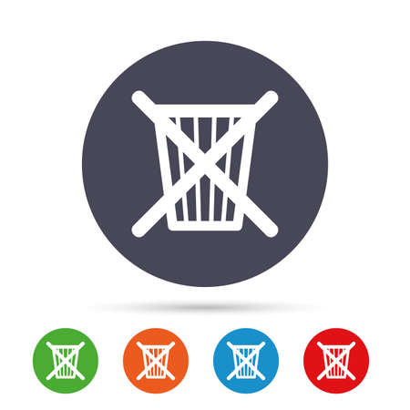 utilization: Do not throw in trash. Recycle bin sign icon. Round colourful buttons with flat icons. Illustration
