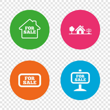 house for sale: For sale icons. Real estate selling signs. Home house symbol. Round buttons on transparent background. Vector
