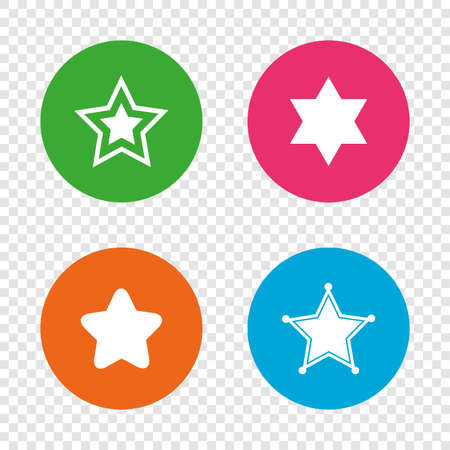 Star of David icons. Sheriff police sign. Symbol of Israel. Round buttons on background. Vector Illustration
