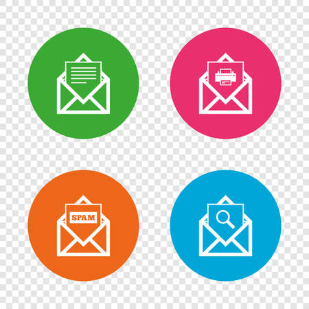 Mail envelope icons. Print message document symbol. Post office letter signs. Spam mails and search message icons. Round buttons on transparent background. Vector Illustration