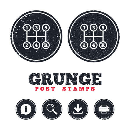 Grunge post stamps. Manual transmission sign icon. Automobile mechanic control symbol. Information, download and printer signs. Aged texture web buttons. Vector