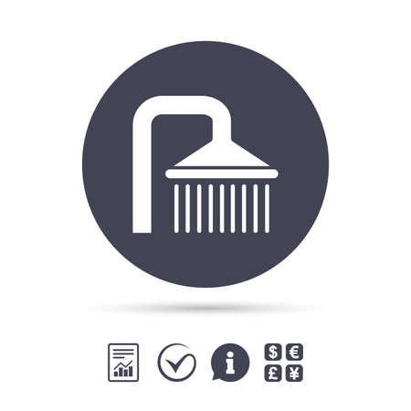 washstand: Shower sign icon. Douche with water drops symbol. Report document, information and check tick icons. Currency exchange. Vector
