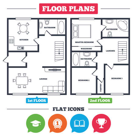 Architecture plan with furniture. House floor plan. Graduation icons. Graduation student cap sign. Education book symbol. First place award. Winners cup. Kitchen, lounge and bathroom. Vector