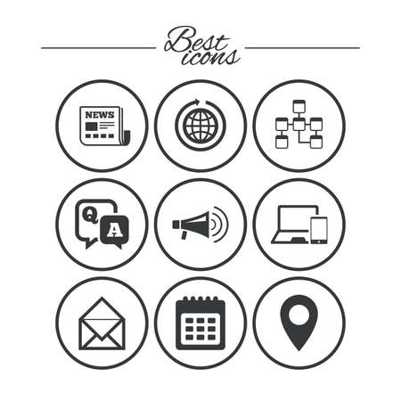 Communication icons. News, chat messages and calendar signs. E-mail, question and answer symbols. Classic simple flat icons. Vector